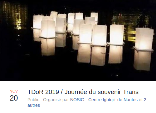 Transgender Day of Remembrance - 20 novembre 2019 - Nantes